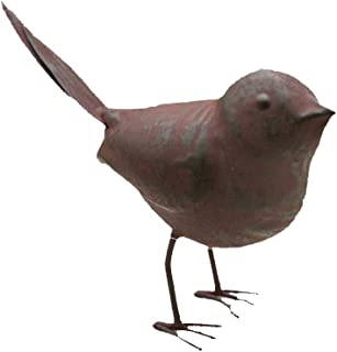 Colonial Tin Works Decorative Small Cute Songbird Song Bird Statue Figurine for Home or Garden with Feet, Metal, Rustic/Farmhouse Cottage, Rust Color, 5.5