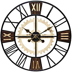 Infinity Instruments Graham 24 inch Roman Numeral Gear Decorative Wall Clock Brown/Gold Home Decor Living Room Bedroom Large