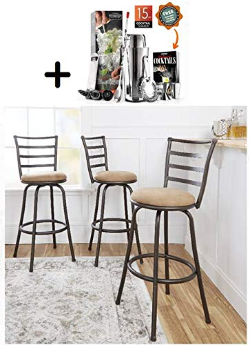 by Mainstay Mainstays Adjustable-Height Swivel Barstool, (Beige, Adjustable-Height Swivel)