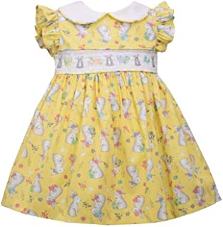 Bonnie Jean Girl's Easter Dress - Yellow Bunny Smocked Dress for Baby Toddler and Little Girls