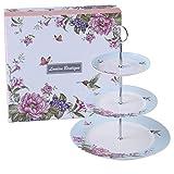 London Boutique Soporte para Tartas de 2 Niveles con diseño de Mariposas y pájaros en Caja de Regalo (Azul)