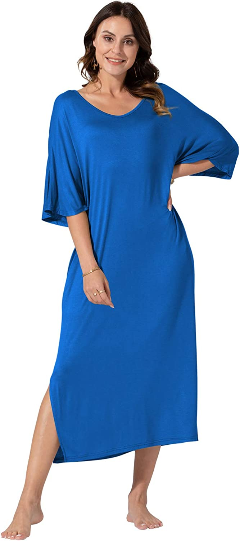 WEKILI Womens V Neck Ultra-Soft Plus-sized Nightgowns Pockets Oversized Casual Loose Long Sleep Dress