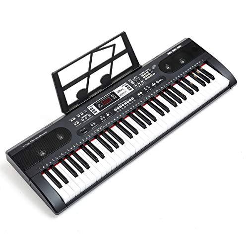 ZHRUNS Piano eléctrico portátil de 61 teclas, multifunción, con conector para auriculares y micrófono, reproductor MP3, doble fuente de alimentación, atril para principiantes