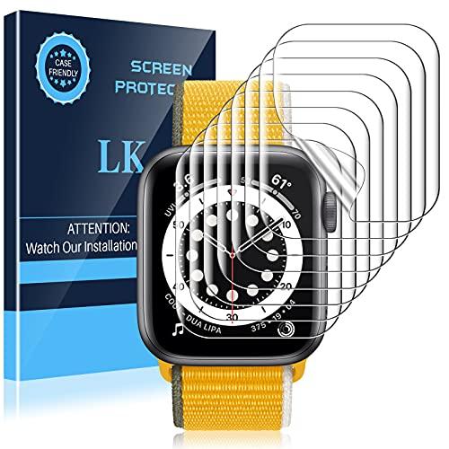 LK Paquete de 8 protectores de pantalla para Apple Watch SE/Series 6/Series 5/Series 4 de 1.575in, material de poliuretano termoplástico, libre de burbujas, claridad HD, transparente