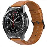 iBazal 22mm Cinturino Pelle Banda Cuoio Compatibile con Samsung Galaxy Watch 3 45mm/Gear S3 Frontier/Classic SM-R760,Galaxy Watch 46mm SM-R800,Huawei GT,Ticwatch PRO (Orologio Non Incluso) - Marrone