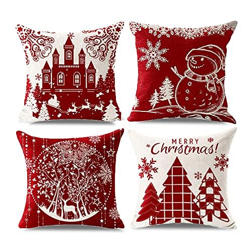 Decoraciones Navideñas Fundas de Almohada, Sumtoco Fundas Navideñas para Cojines, Decorativo para Navidad, Cojín para...