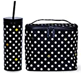 Kate Spade New York Insulated Lunch Bag and 20 Ounce Double Wall Tumbler, Thermal Lunch Tote with Interior Pocket, Travel Cup with Reusable Straw/Leak Resistant Lid, Polka Dots (Black/White)