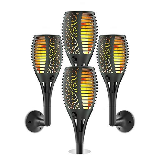 Ruyilam Llama Luz Solar de Exterior, 4 Pack Antorcha Luces Solares Inalámbricas Impermeables para Jardín, Terraza, Patio, Fiestas, Iluminación al Aire Libre, Encendido Apagado Automático