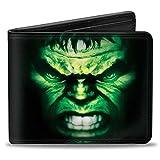 Hebilla para hombre con hebilla de poliuretano Bifold – The Hulk Face Close-up2 + texto negro/verde/morado, multicolor, 4.0 x 3.5 US