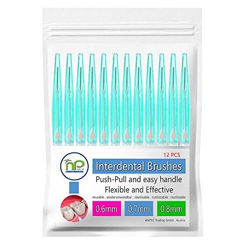 NP-Vital 12x cepillos interdentales 0.6/0.7/0.8 mm o en la mezcla - cepillado higiénico push-pull technology tooth space (0.8 mm verde)