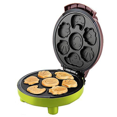 Máquina de Magdalenas Gofrera Antiadherente para Niños DIY Desayuno, Maquina de Hacer Muffins Cupcakes de Dibujos Animados Eléctrica, 1000W,Green