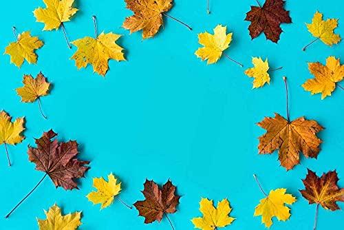 MX-XXUOUO Rompecabezas con Imagen de héroe, Hojas de otoño sobre Fondo Azul Plano, Rompecabezas clásico para Adultos, de Madera Grande, 1000 Piezas