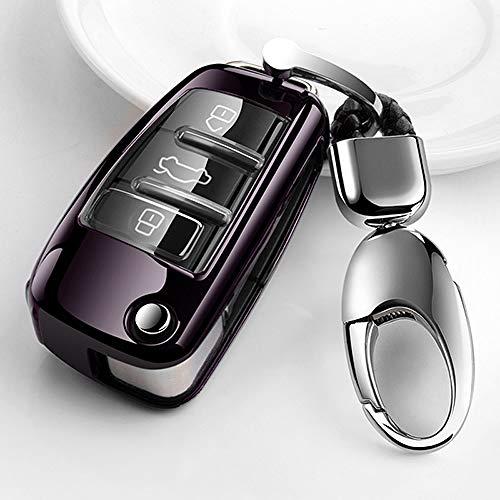 LINGZIA Cubierta Suave de la Caja de la Llave del Coche de TPU, para Audi A3 / Q3 / A6L / A1 / S3 / Q7 / Q2L Cubierta de la Llave del Control Remoto, B, Negro