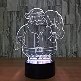 Cute Santa Claus Color 3D Lámpara de mesa Kids Toy Gift Visual Led Night Light Kids USB Baby Sleeping Gift