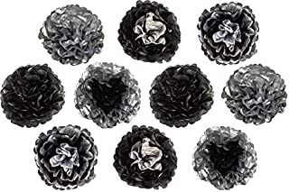 Paper Flowers Decoration Set, Unique Metallic Tissue Silver and Black colors Mexican flowers Ideal for