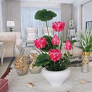 LZQBD Artificial Flowers,Home Pu Butterfly Orchid Fake Decoration Artificial Silk Flower Vase Redartificial Lotus