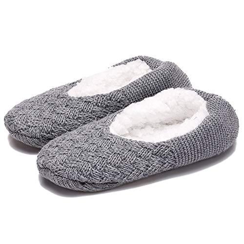 Aibrou Rutschfeste Damen Stoppersocken   Hausschuhe mit ABS Sohle, Pantoffeln Grau 43-46