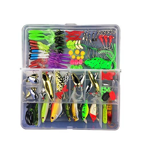 RoseFlower 106 Piezas Kits de señuelos para Pesca Cebos Artificiales de Pesca Cebo Duros/Suaves Incluye Ranas, Giratorios, Cuchara, Anzuelos - Pesca Accesorios para Pesca de Trucha, Bagre y Lucio