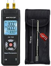 NKTECH NK-TK0 Termómetro digital Termopar de doble canal 2 vías tipo K LCD retroiluminado temperatura -50-1350 ℃/℉/K 2 Sensor Sonda de lectura T1/T2 Metro Negro