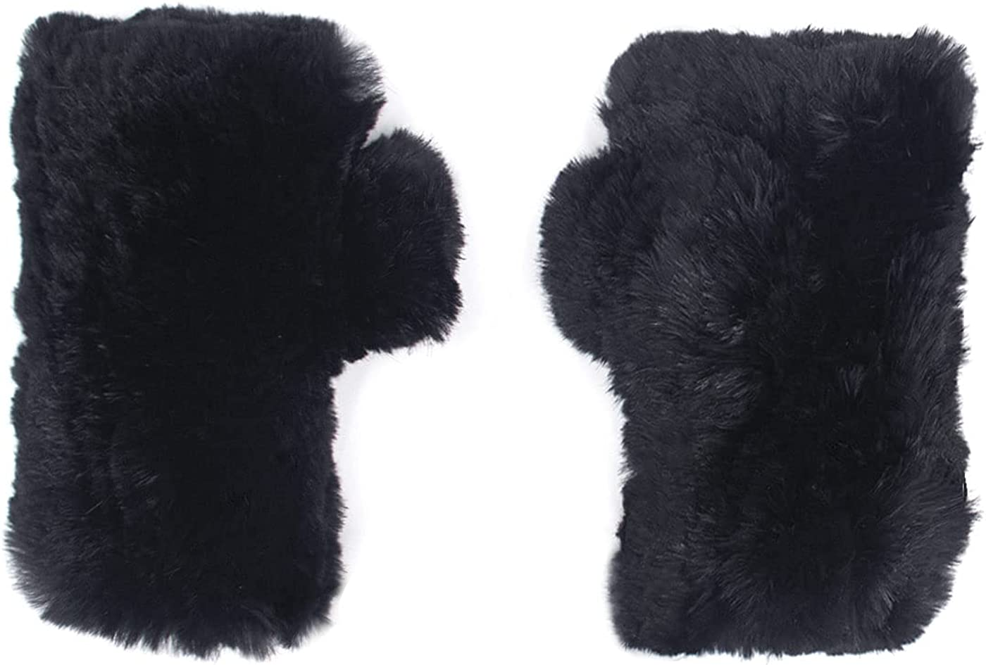 Surell Sheared Rabbit Fingerless Glove - Winter Texting Mittens - Luxury Cold Weather Clothing