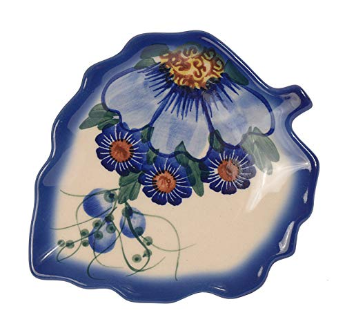 Traditionelle Polnische Keramik, handgefertigter Untersetzer oder Löffelablage mit Muster im Bunzlauer Stil, H.401 (Passion Collection)