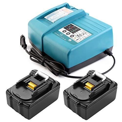 2 baterías BL1840 de ion de litio de 18 V y 4,0 Ah con cargador de 1,5 A para desbrozadoras Makita DUR181Z DUR364LZ BUR181Z Site Radio DMR106 DMR107 DMR109W