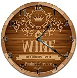 "EasySells 10.5"" Wine Barrel Head Design Clock - Printed Clock - Large 10.5"" Wall Clock - Home Décor Clock"