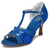 JIA JIA 20519 Damen Sandalen Ausgestelltes Heel Super-Satin mit funkelnden Glitter Latein Tanzschuhe Farbe Blau,Größe 37 EU