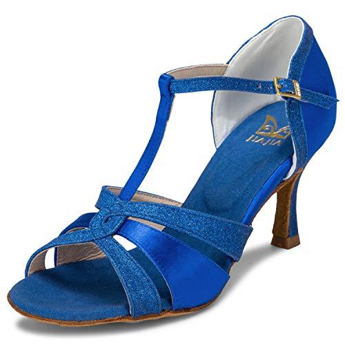 JIA JIA 20519 Damen Sandalen Ausgestelltes Heel Super-Satin mit funkelnden Glitter Latein Tanzschuhe Farbe Blau,Größe 39 EU