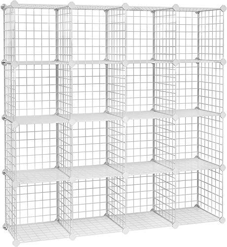 ROXTAK Armadietto Scaffale Portaoggetti DIY scaffalatura modulare Interconnesso 16 Cubi Rete Metallica Ripiani in Rete Armadio Scaffale