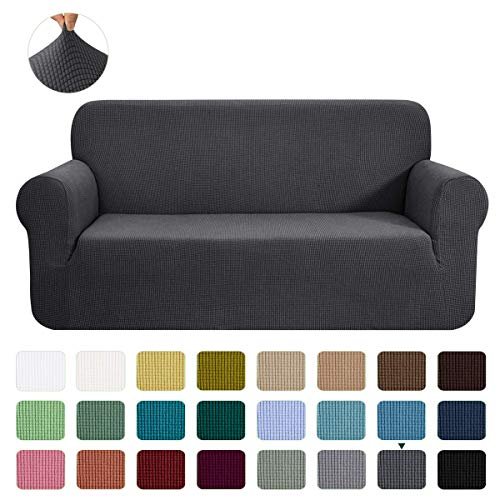 CHUN YI Stretch Sofa Slipcover 1-Piece Couch Cover Furniture Protector,3 Seater Settee Coat Soft With Elastic Bottom,Checks Spandex Jacquard Fabric, Large, Gray