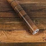 Junucubo 壁紙シール 木目 壁紙木目 木目シートスティック木目柄壁紙多用途厚い防水木製パネルのインテリアビニールフィルムロール家の装飾 45CM x 10M (オレンジグレーの木目)