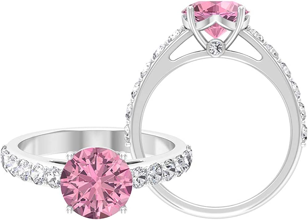 security 8.00 MM Round Cut Pink Tourmaline Solitaire D-VSSI Genuine Free Shipping Moissan Ring