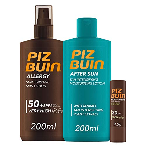 Piz Buin,Allergy,Spray Piel Sensible, SPF 50+, 200ml + After Sun Loción Intensificadora del bronceado,200ml + Moisturising Stick Labial,SPF 30,4,9g