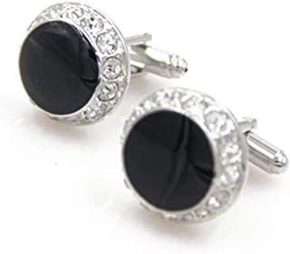 4e79b2073 Peora 316L Stainless Steel Formal Round Black Shining CZ Cufflinks for Men  Business Corporate Gift