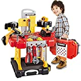 Toy Choi's 82 Pieces Kids Pretend Power Workbench Construction Tool Bench Set