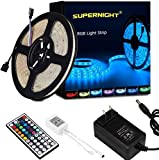 SUPERNIGHT LED Strip Lights, RGB Color Changing 16.4Ft SMD5050 LEDs Flexible Light Strip Rope Lighting Kit with 44 Key Remote Controller and 12V Power Supply for Bedroom TV Backlight Christmas
