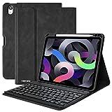 iPad Air 4th Generation Case with Keyboard,iPad 10.9 Keyboard Case 2020,Detachable Bluetooth Keyboard with Pencil Holder,Folio Smart Cover Case for iPad Air 4 Gen(2020)/iPad 11 Pro 2018-Black