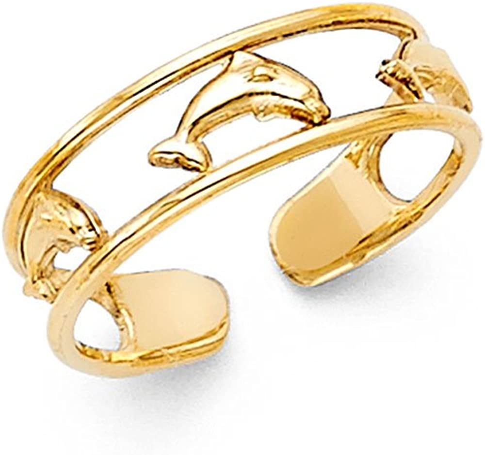 Jewels By Lux 14K Yellow Gold Dolphin Toe Ring One Size Fits All Adjustable