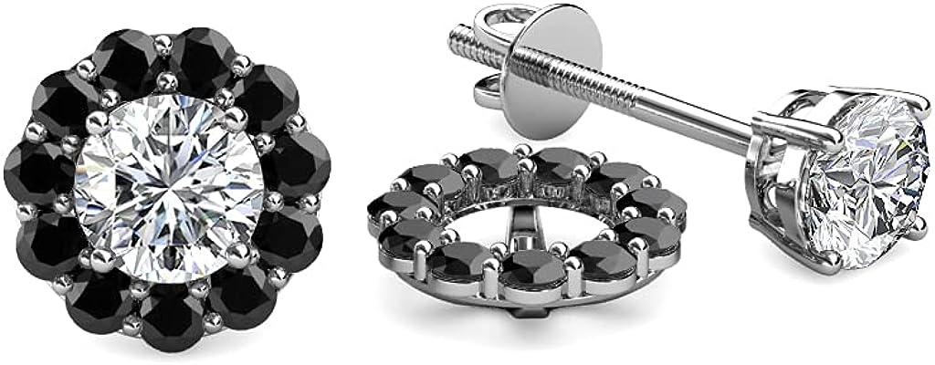 TriJewels Black Diamond Halo Jacket for Stud Earrings 0.57 ct tw in 14K White Gold