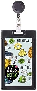 Kiwi Pineapple Fruit Illustration Pattern Retractable Badge Reel Card Sleeve Case