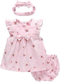 ACVIP Baby Girl's Strawberries Print A-line Dress Headband Pantie Set (Pink,12-18 Months)