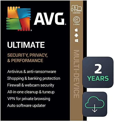 AVG Ultimate 2021 Antivirus Cleaner VPN 5 Devices 2 Years PC Mac Mobile Download product image