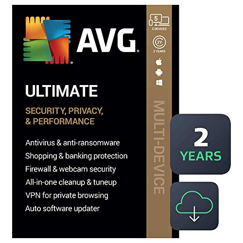 AVG Ultimate 2021 | Antivirus+Cleaner+VPN | 5 Devices, 2 Years [PC/Mac/Mobile Download]