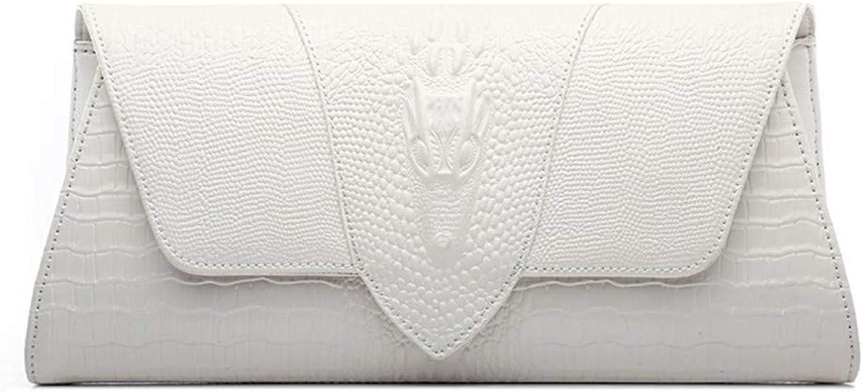 Clutch Bag Women Elegant Prom Leather Envelope Clutches Bag Crocodile Pattern Evening Handbags Party Bridal Clutch Purse Shoulder Cross Body Bag Wedding Bag Evening Bag (color   White)