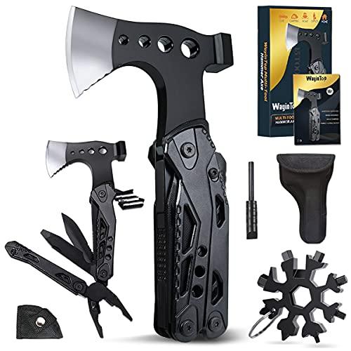WayinTop Vatertagsgeschenke Gadgets für Männer, Multifunktionswerkzeug mit Hammer Axt Schraubendreher Säge Flaschenöffner Taschenwerkzeug für Camping Wander Notfall im Freien