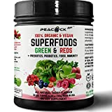 Organic Superfood Reds Greens Prebiotic Fiber Probiotic Immunity Metabolic Powder Mix (1)
