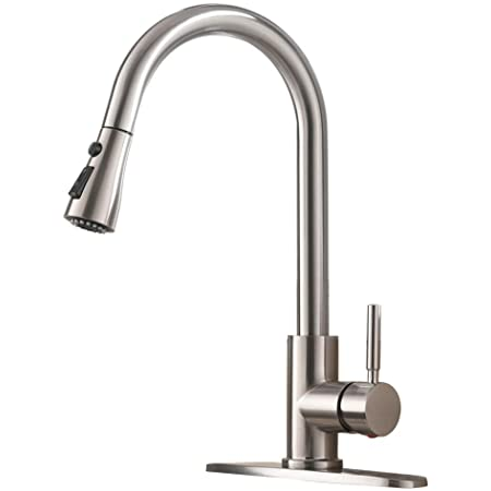 GOWIN Kitchen Faucet with Pull Down Sprayer Brushed Nickel,Single Handle High Arc Pull Out Kitchen Sink Faucets with Deck Plate,Bar Kitchen Faucet,Stainless Steel