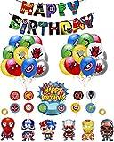 smileh Decoration Anniversaire Super Heros Ballons en Latex de Super-héros Ballons de Papier D'aluminium de Superhero Bannière de Fête de Super-héros Gâteau D'Anniversaire Décoration de Superhero