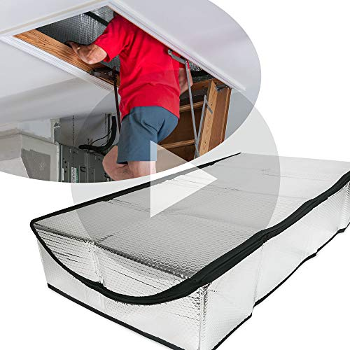 Insulating Attic Stair Cover (25' x 54' x 11') - MPET Attic Door Cover With Easy Access Zipper For Home Insulation - Attic Door Insulation To Retain Cool Or Warm Air - Attic Stair Insulation